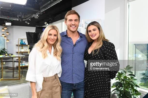 Daily Pop CoHost Morgan Stewart poses for a photo with Peter Weber and CoHost Carissa Culiner on set