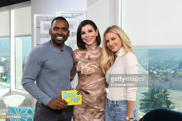 Daily Pop CoHost Justin Sylvester poses for a photo with Heather Dubrow and CoHost Morgan Stewart on set
