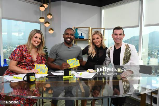 Daily Pop CoHosts Carissa Culiner Justin Sylvester and Morgan Stewart pose for a photo with Matt Fraser of Meet the Frasers on set
