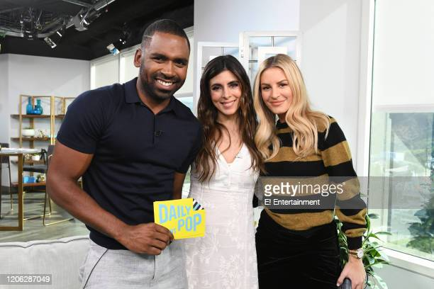Daily Pop CoHost Justin Sylvester poses for a photo with Jamie Lynn Sigler and CoHost Morgan Stewart
