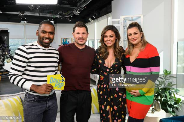 Episode 200211 -- Pictured: E! Daily Pop co-host Justin Sylvester, Nick Lachey, Vanessa Lachey and Daily Pop co-host Carissa Culiner on the set of E!...
