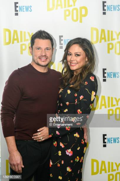 """Episode 200211 -- Pictured: Nick Lachey and Vanessa Lachey discuss their new show """"Love is Blind,"""" with on the set of E! Daily Pop --"""