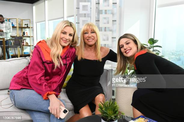 Daily Pop CoHost Morgan Stewart poses for a photo with Suzanne Somers and CoHost Carissa Culiner on set