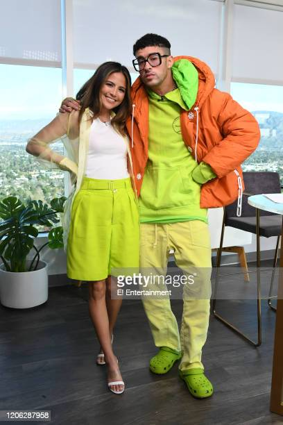 Daily Pop Host Erin Lim poses with rapper Bad Bunny on set
