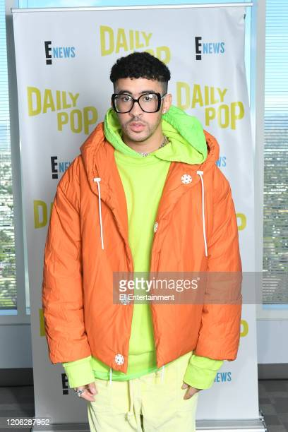 Rapper Bad Bunny poses for a photo on set