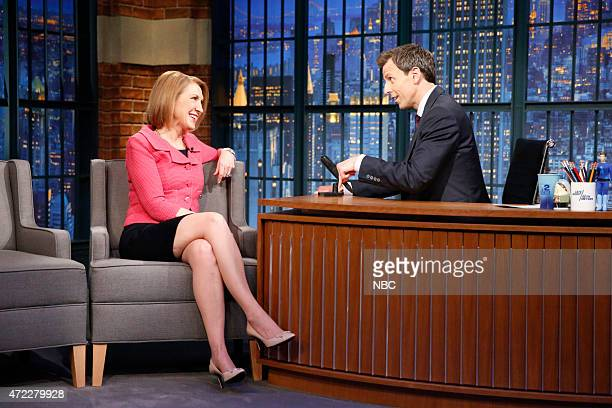 Republican presidential candidate Carly Fiorina during an interview with host Seth Meyers on May 5 2015