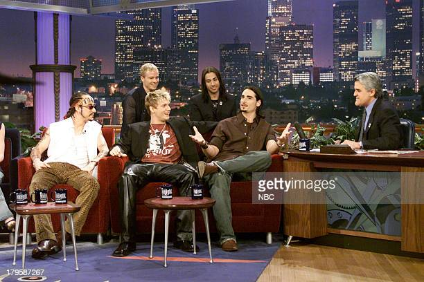 Kevin Richardson AJ McLean Nick Carter Brian Littrell Howie Dorough of musical guest The Backstreet Boys during an interview with host Jay Leno on...
