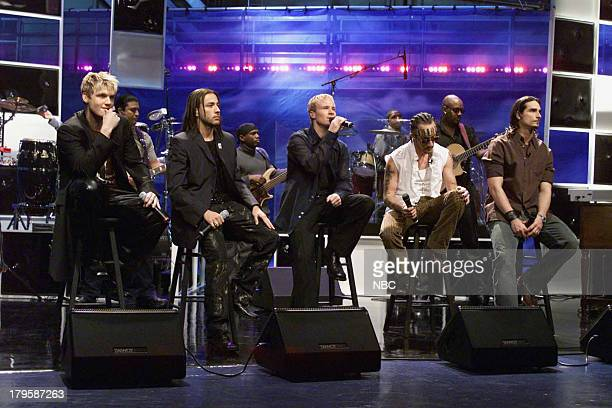 Nick Carter Brian Littrell AJ McLean Kevin Richardson Howie Dorough of musical guest The Backstreet Boys perform on March 16 2001