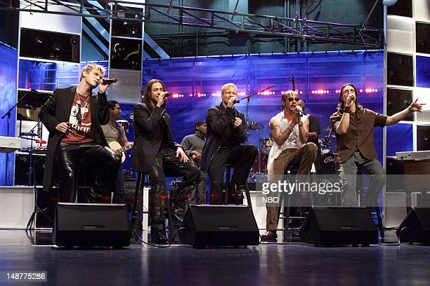 The Backstreet Boys Band during a performance on March 16 2001