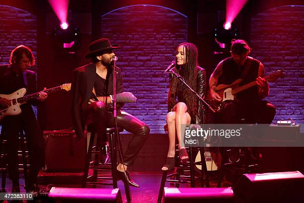 Musical guest Twin Shadow performs with Zoë Kravitz on May 6 2015