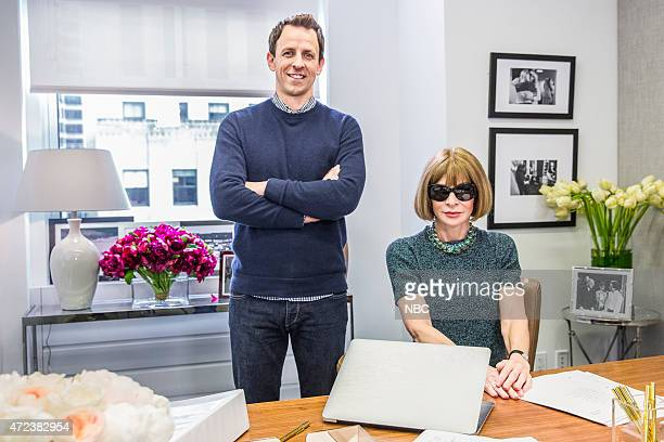 Seth Meyers and Anna Wintour during the 'Anna Wintour Comedy Icon' skit May 6 2015