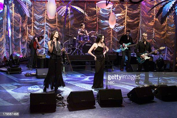 Musical guests Vocalist/Violinist Sharon Corr Drummer Caroline Corr Vocalist Andrea Corr Guitarist Jim Corr of 'The Corrs' perform on March 21 2001