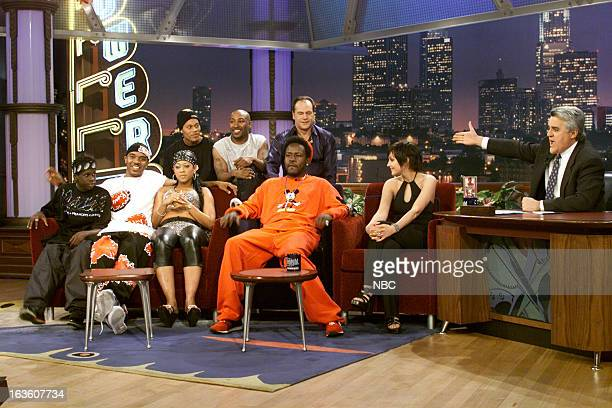 Musical guest Trick Daddy Harry Wayne Casey Rachael Leigh Cook during an interview with host Jay Leno on April 9 2001