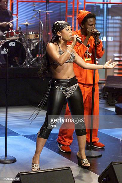 Musical guest Trina performs on April 9 2001