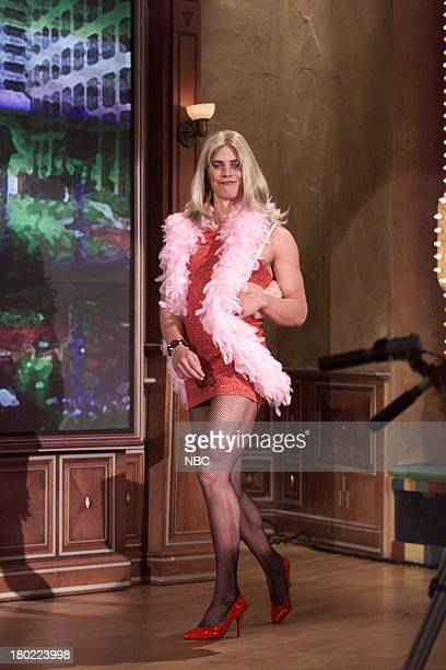 An actor in drag arrives on April 20 2001