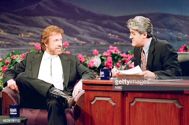Actor Chuck Norris during an interview with host Jay Leno on April 9 1993