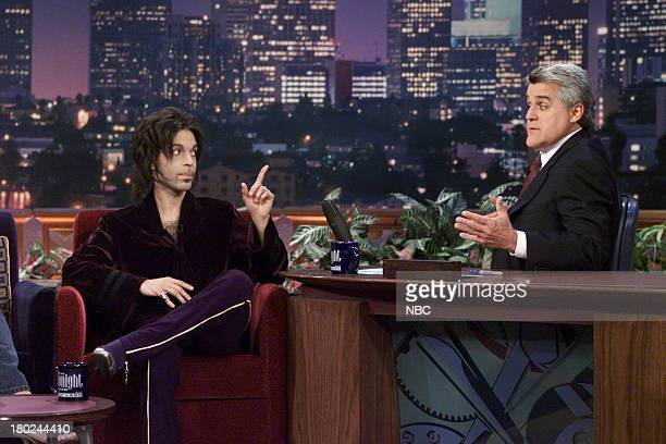 Musical guest Prince during an interview with host Jay Leno on May 03 2001