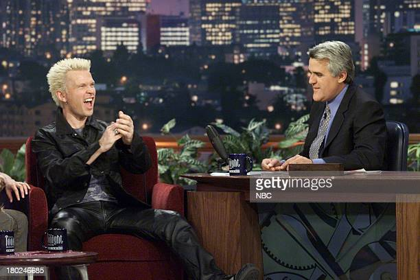 Episode 2061 -- Pictured: Musical guest Billy Idol during an interview with host Jay Leno on May 18, 2001 --