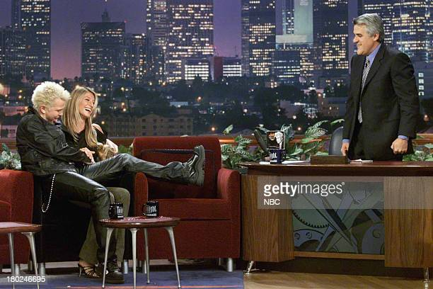 Episode 2061 -- Pictured: Musical guest Billy Idol, model Gisele Bundchen, and host Jay Leno on May 18, 2001 --