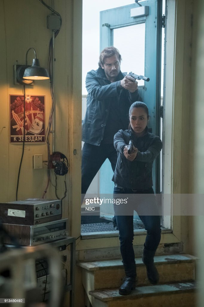 TAKEN -- 'OPSEC' Episode 207 -- Pictured: (l-r) Clive Standen as Bryan Mills, Jessica Camacho as Santana --