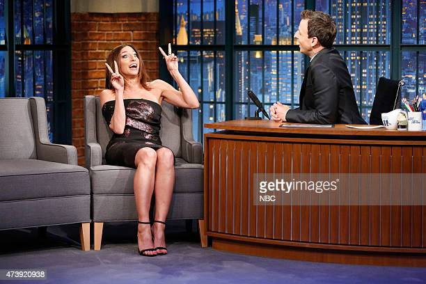 Comedian Chelsea Peretti during an interview with host Seth Meyers on May 18 2015
