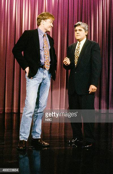 Episode 211 -- Pictured: Comedian Conan O'Brien and host Jay Leno on March 26, 1993 --