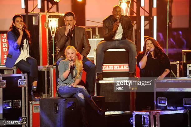 THE VOICE Episode 212 Live Show Pictured Jordis Blake Shelton Raelynn Jermaine Paul Erin Willet