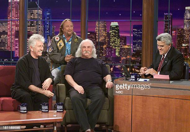 Musical guests Graham Nash Stephen Stills and David Crosby of Crosby Stills Nash during an interview with host Jay Leno on September 18 2001