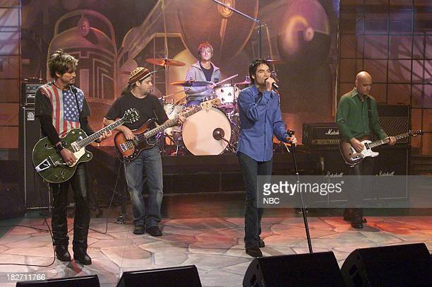 Musical guest Train Rob Hotchkiss Charlie Colin Scott Underwood Pat Monahan Jimmy Stafford performs on September 26 2001