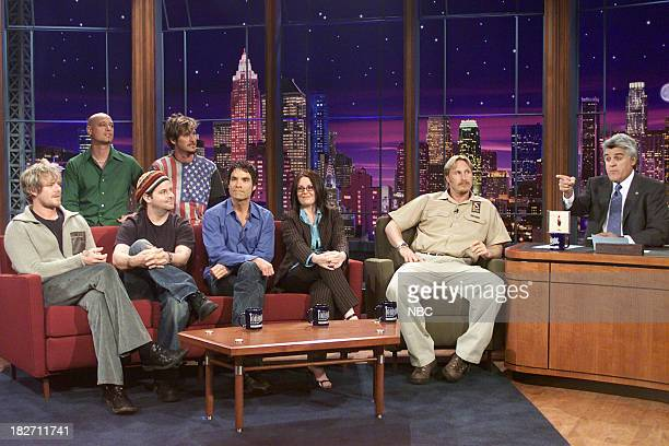 Scott Underwood Jimmy Stafford Charlie Colin Rob Hotchkiss and Pat Monahan of musical guest Train actress Megan Mullally and bird trainer Jon...