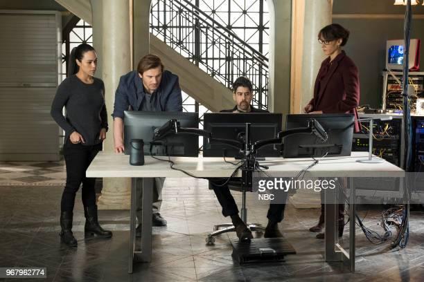 Episode 213 -- Pictured: Jessica Camacho as Santana, Clive Standen as Bryan Mills, Adam Goldberg as Kilroy, Jennifer Beals as Christina Hart --