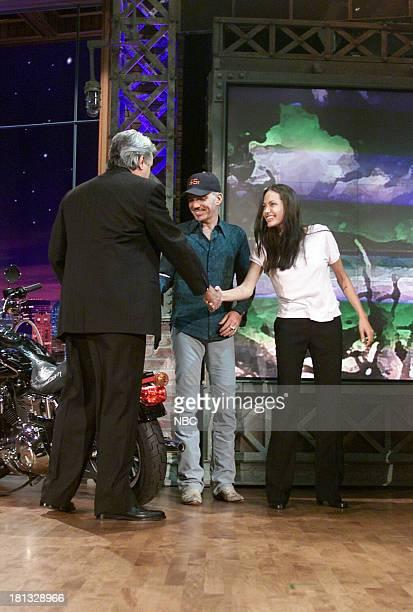 Host Jay Leno with actor Billy Bob Thornton and actress Anjelina Jolie on October 09 2001