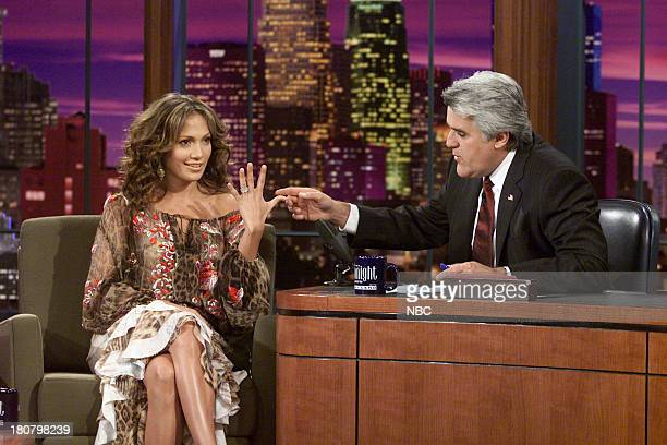 Actress Jennifer Lopez during an interview with host Jay Leno on November 19 2001