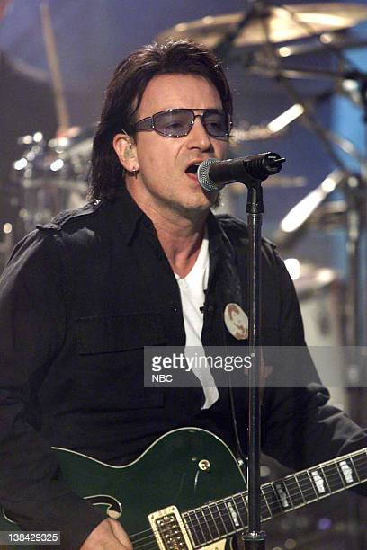 Episode 2165 -- Pictured: Singer, Bono -- Musical guest U2 performs on November 22, 2001