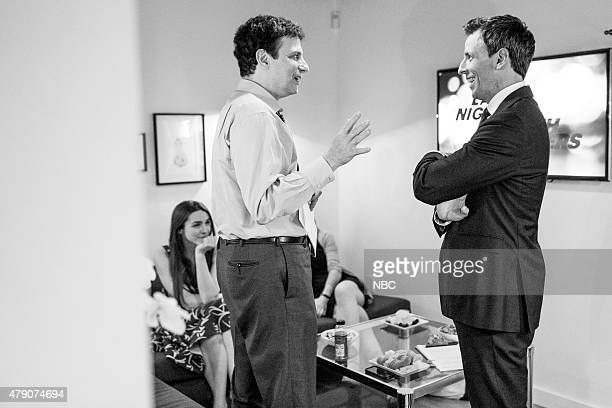 MEYERS Episode 217 Pictured David Remnick New Yorker editor talks with host Seth Meyers backstage on June 9 2015