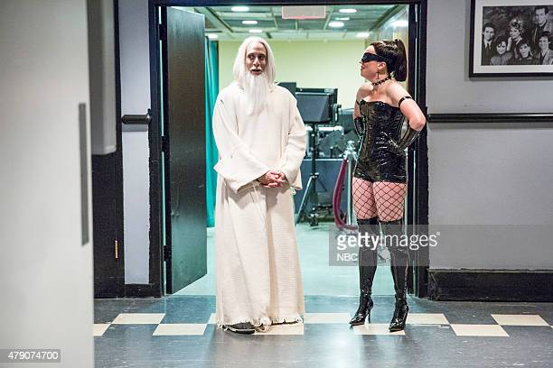 MEYERS Episode 217 Pictured Pete Grosz and Michelle Wolf backstage on June 9 2015