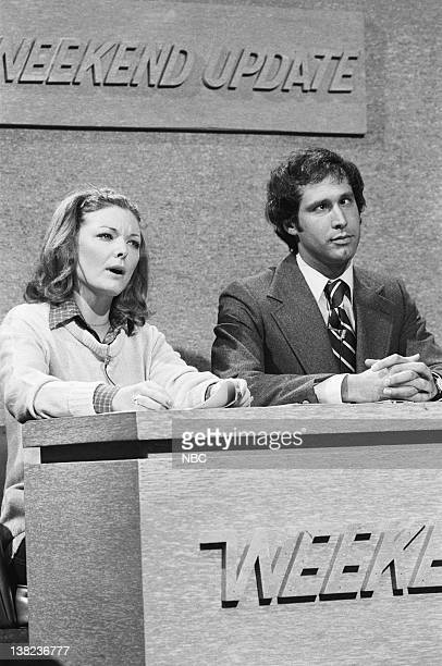 LIVE Episode 22 Air Date Pictured Chevy Chase Gilda Radner as Emily Litella during 'Weekend Update' on May 29 1976
