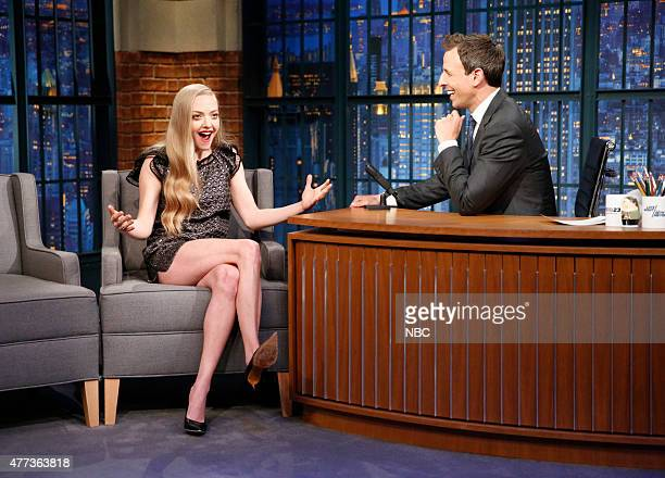 Actress Amanda Seyfried during an interview with host Seth Meyers on June 16 2015