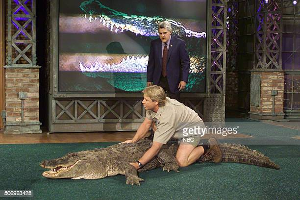 Episode 2222 -- Pictured: Wildlife expert Steve Irwin during an interview with host Jay Leno on March 6, 2002 --