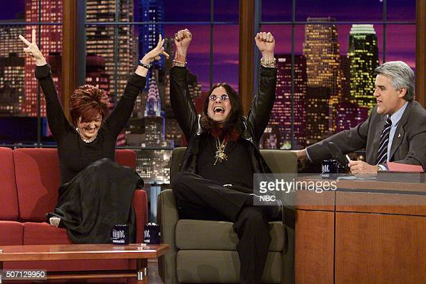 TV host Sharon Osbourne and Singer Ozzy Osbourne during an interview with host Jay Leno on May 2 2002