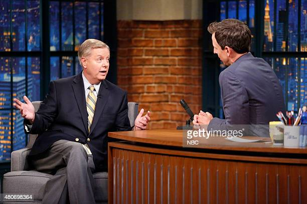Senator Lindsey Graham during an interview with host Seth Meyers on July 14 2015