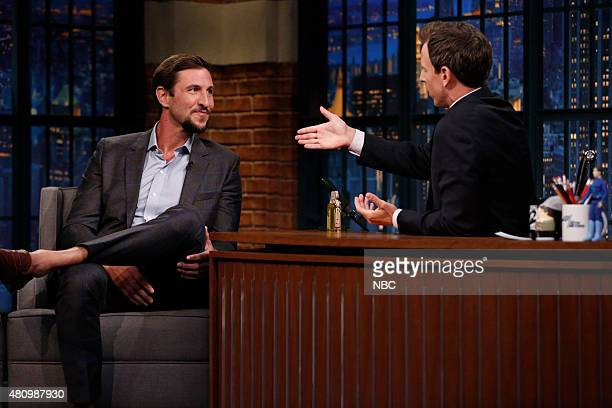 Actor Pablo Schreiber during an interview with host Seth Meyers on July 16 2015