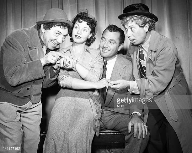 Episode 231-- Pictured: Chico Marx, Kay Starr, host Tony Martin, Harpo Marx -- Photo by: NBC/NBCU Photo Bank