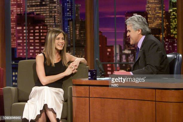 Actress Jennifer Aniston during an interview with host Jay Leno on August 7 2002