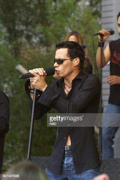 Singer Marc Anthony performs on August 9 2002