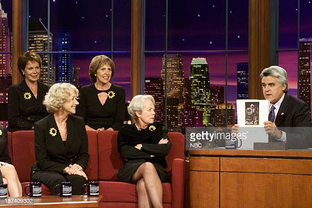 The cast of Calendar Girls Julie Walters Helen Mirren Annette Crosbie Linda Bassett Celia Imrie Penelope Wilton host Jay Leno during an interview on...