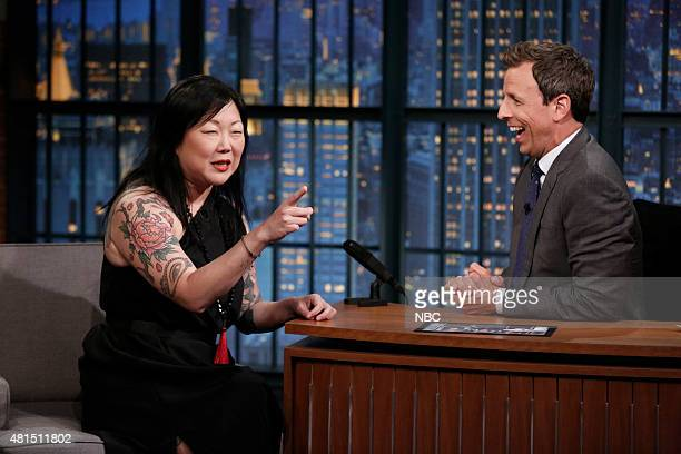 Episode 233 -- Pictured: Comedian Margaret Cho during an interview with host Seth Meyers on July 20, 2015 --