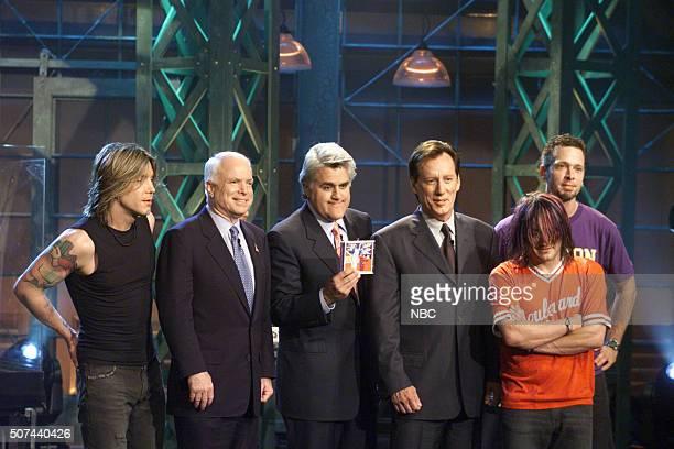 Singer John Rzeznik senator John McCain host Jay Leno actor James Woods bassist Robby Takac and musician Mike Malinin on September 11 2002