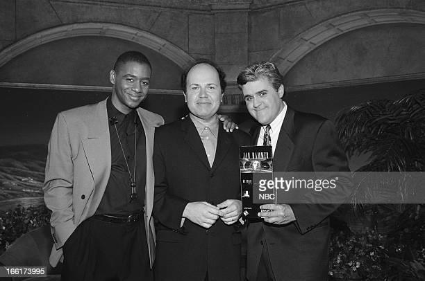 Episode 234 -- Pictured: Bandleader Branford Marsalis, music composer Jan Hammer, host Jay Leno backstage on May 27, 1993--