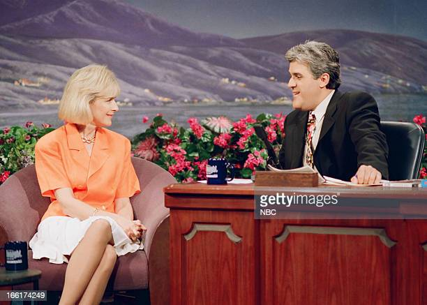 Journalist Judy Woofruff during an interview with host Jay Leno on May 28 1993